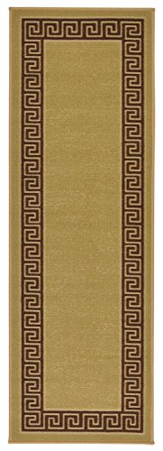 Meander Design Printed Slip Resistant Rubber Back Latex Runner Rug and Area Rugs 5 Color Options Available (Beige, 1'8
