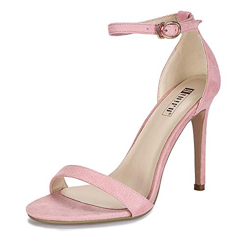 Heel Colored High - IDIFU Women's IN4 Slim-HI Open Toe Stiletto High Heel Ankle Strap Dress Sandals Party Shoes Pink Suede 10 M US