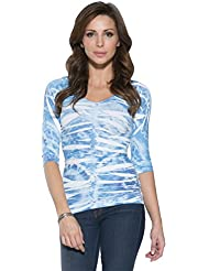 Last Tango Womens 3/4 Sleeve Seamless Printed Ruched Top V-Neck Ultra Stretchy Fabric