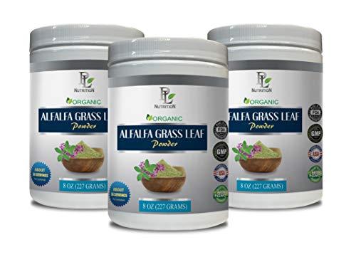 Organic Immunity Booster - Alfalfa Grass Leaf Organic Powder - Digestive Powder - 3 Cans 24 OZ (168 Servings)