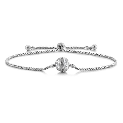 SHINCO Bella Lotus Starry Bead 18k White Gold Plated Cubic Zirconia Paved Adjustable Women Charm Bracelets, Gifts for Thanksgiving Day, Christmas and New Year from SHINCO