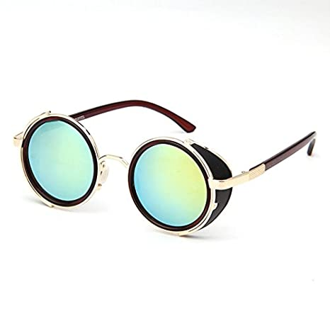 e0009e0cd84 JJLHIF Unisex 50s Round Glasses Steampunk Sunglasses Cyber Goggles Vintage  Retro Style Blinder Golden Metal Frame   Green Reflection Lens w Hard  Glasses ...