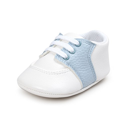 Fire Frog Baby Shoes for Boys Girl Infant Lace-up Saddle Sneakers Light Blue 12-18 Months
