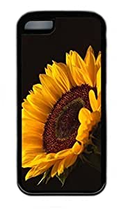 LJF phone case ipod touch 5 Case, Personalized Protective Rubber Soft TPU Black Edge Case for ipod touch 5 - Sun Flower Cover