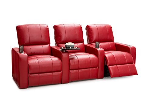 Seatcraft Millenia Home Theater Seating Power Recline Leather (Row of 3, Red) (Entertainment Chair Gaming Home)