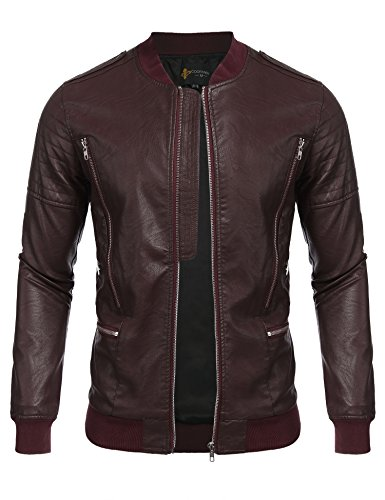 Leather Bomber Motorcycle Jacket - 7