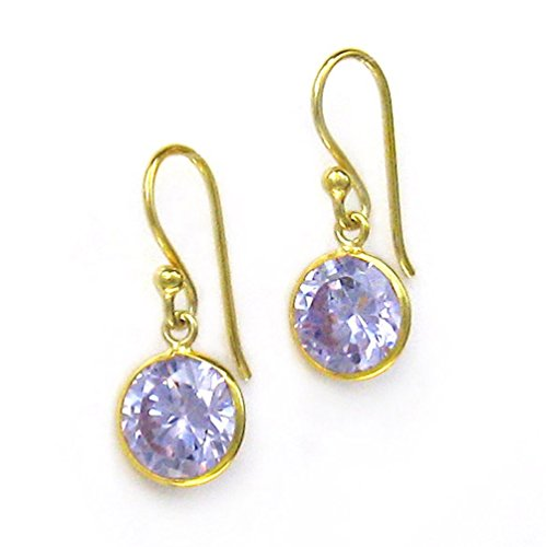 Gold Plated Sterling Silver Sparkling Round Crystal Drop Earrings, Lavender Solitaire Vermeil Earrings