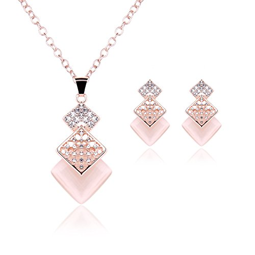 OUFO Women Girls Crystal Rose Gold Plated Wedding Dressy Necklace Earring Costume Square Pink Jewelry Set Birthday Prom
