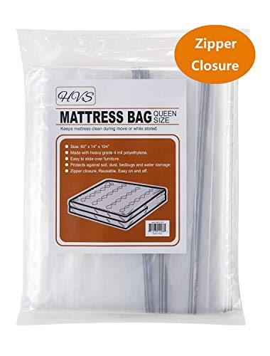 (HVS Mattress Bags for Moving & Storage, Mattress Storage Bag, Plastic Mattress Bags for Moving with Zipper Closure, Mattress Protector for Moving (Queen))