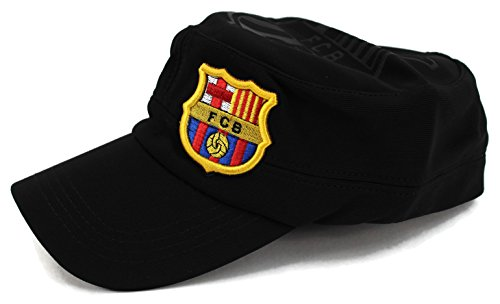 High End Hats World Soccer / Football Team Military Hat Collection Embroidered Flexfit Army Style Cap, Futbol Club Barcelona, Black Vintage Military Style Black Fatigue