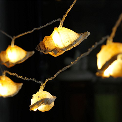 LED Natural String Lights, Impress Life Ocean Real Conch Themed Series Flexible 10 ft 10 LEDs for Indoor, Covered Outdoor, Birthday, Wedding, Sun Beach, Summer Holiday, Parties & Home Decorating