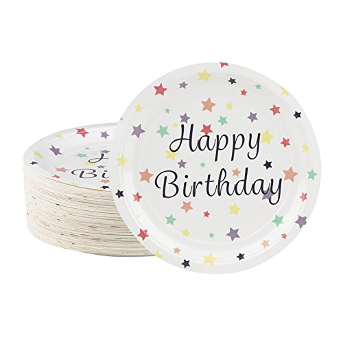 Disposable Plates - 80-Count Paper Plates, Happy Birthday Party Supplies for Appetizer, Lunch, Dinner, and Dessert, 9 x 9 Inches