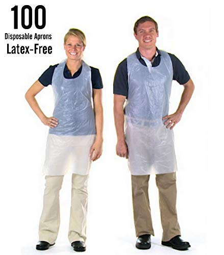 Box of 100 Azi White Polyethylene Waterproof Plastic Disposable Aprons 28'' x 46'' Individually Packed 1.0 Mil Thick for Maximum Durability - Cooking Serving Dishwashing Painting NO Mess - Latex Free ()