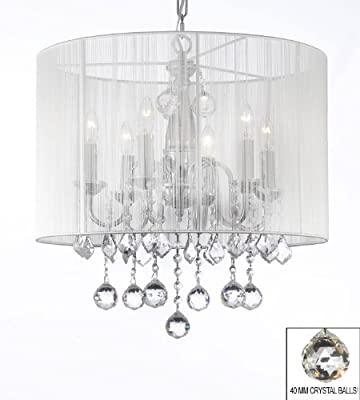 "Crystal Chandelier Chandeliers With Large White Shade & 40MM Crystal Balls ! H 19.5"" x W 18.5"""