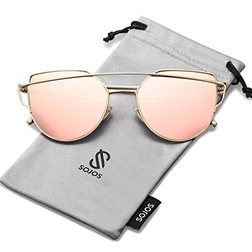 (SOJOS Cat Eye Mirrored Flat Lenses Street Fashion Metal Frame Women Sunglasses SJ1001 with Gold Frame/Pink Mirrored Lens)