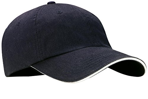 Port Authority Men's Sandwich Bill Cap with Striped OSFA Classic Navy/ White
