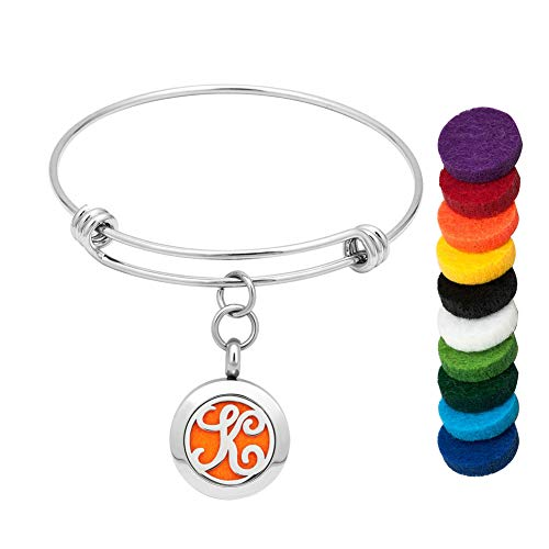 LoEnMe Jewelry Aromatherapy Essential Oil Diffuser Silver Charm K Initial Letter Bangle Monogram - Silver Inch Monogram 2.5