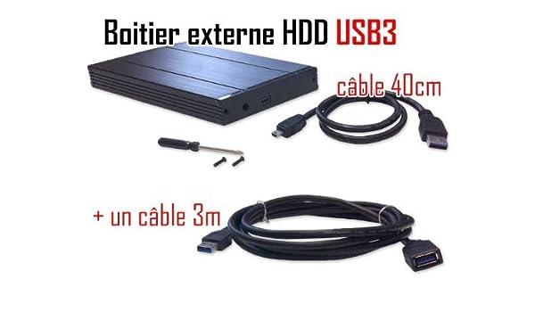 Cabling ® USB Caja externa para disco duro SATA 3,0 2,5 USB 3,0 y cable alargador, 3 m: Amazon.es: Informática