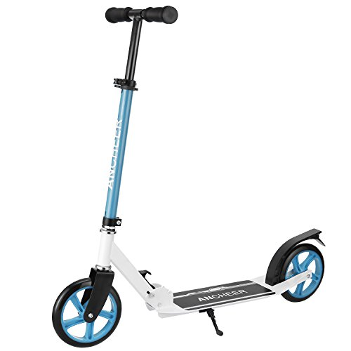 Ancheer A3 Adult Scooter with 3 seconds Easy-Folding System, Adjustable Height Kick Scooter with Rear Brake and 2 Large Wheels 200mm, Lightweight Aluminium T-tube and Kickboard, 220 lb Weight (Big Wheel Brake)