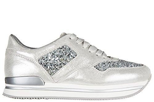 Hogan chaussures baskets sneakers femme en cuir h222 glitter argent