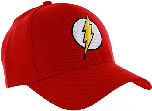 DC Comics Men's Flash Faux Wool Baseball Cap with 3D Embroidered Logo, Red, One Size -