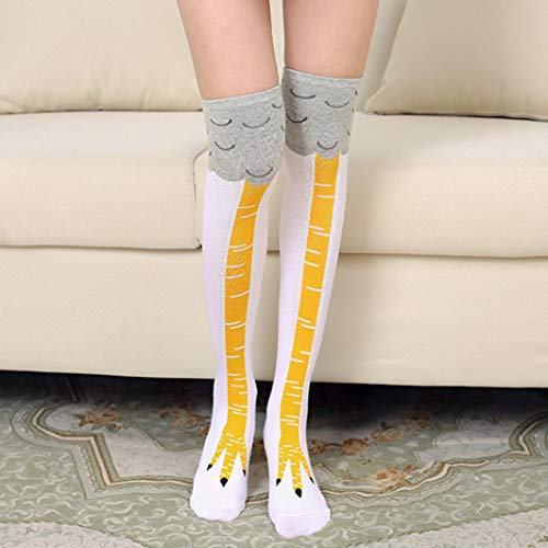 BCDshop Funny Long Socks for Women Teen Girl Chicken Feet Print Creative Novelty High Stocking (Black) at Amazon Womens Clothing store: