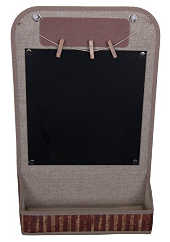 Vintage Themed Wall Hanging Organizer & Chalk Board | Wall Hanging Locker Organizer With Clothes Line Photo Hangers, Chalk Board and Pocket | Attractive Design Endless Applications