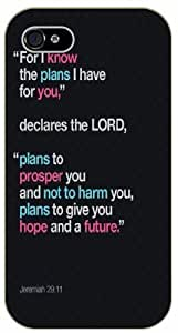 For I know the plans I have for you, declares the Lord - Jeremiah 29:11 - Bible verse iPhone 4/ 4s black plastic case / Christian Verses