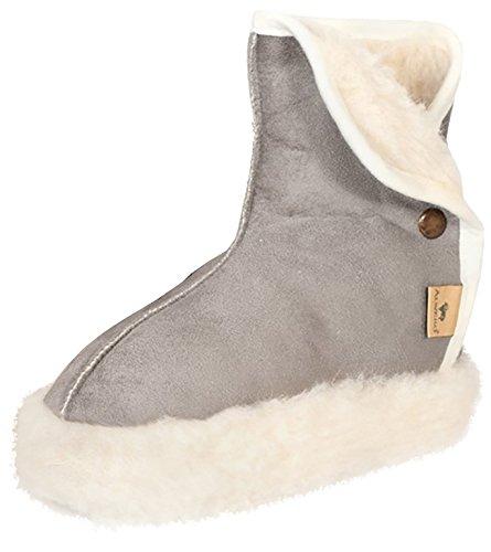 Alwero Woolnite Warme Hausschuhe Wolle Grau