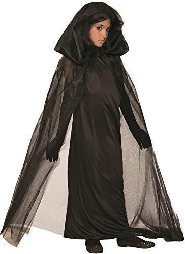 Girls Gothic Dark Widow Witch Sorceress Halloween Horror Creepy Fancy Dress Costume Outfit (7-9 years)]()