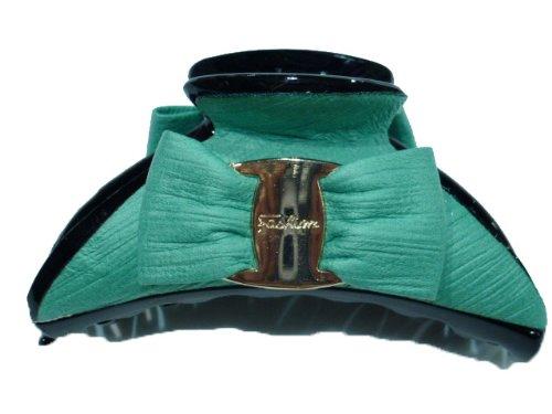 rougecaramel - Accessoires cheveux - Pince cheveux noeud grand modèle - vert