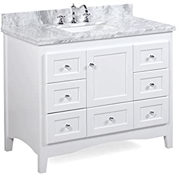 Abbey 42 Inch White Bathroom Vanity (Carrara/White): Includes Soft Close  Drawers And Doors, And Rectangular Ceramic Sink