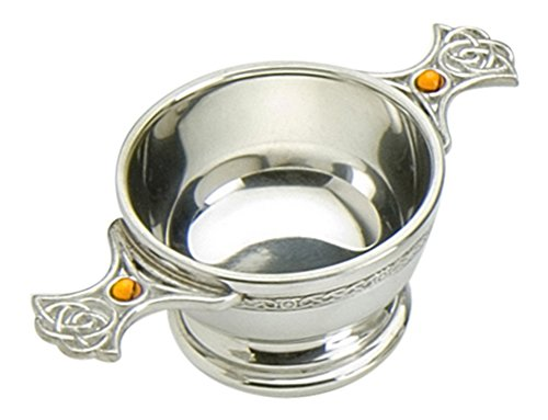 Traditional Scottish 4 Inch Pewter Toasting Quaich - Eternal Celtic Handles inset with Topaz - Celtic Handle