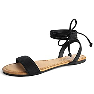 SANDALUP Tie Up Ankle Strap Flat Sandals for Women