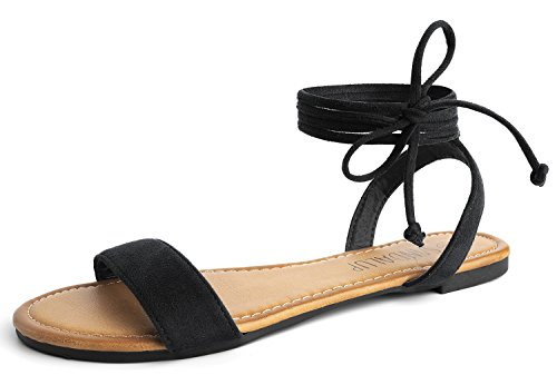 - SANDALUP Tie Up Ankle Strap Flat Sandals for Women Black 09