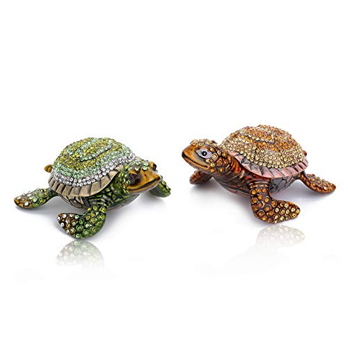 THREE FISH CRYSTAL 2Pcs Sea Turtle Figurine Collectible Hinged Trinket Box Bejeweled Hand-Painted Ring Holder
