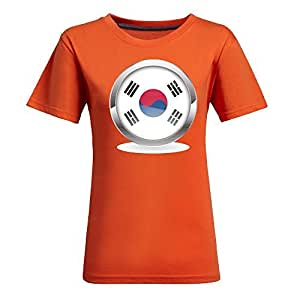 Custom 2014 FIFA World Cup Womens Cotton Short Sleeve Round Neck T-shirts for Football Fans Images orange