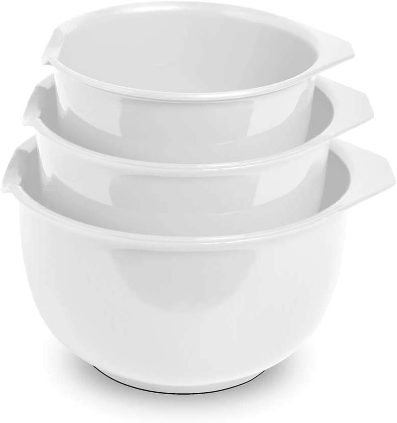 Glad Mixing Bowls with Pour Spout, Set of 3 | 3.6, 1.9, and 1.2 Quart Nested Design | BPA Free, Food Safe, Non-Slip Bottoms, White