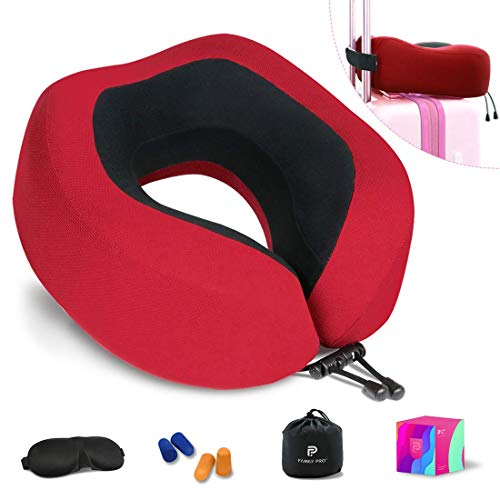 Family Pro Neck Pillow, Breathable & Comfortable Memory Foam Travel Pillow, 360-Degree Head Support U-Shaped Airplane Car Flight Pillow Portable, Accessories Eye Mask and 2 Pair Ear Plugs (Red)