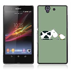 Designer Depo Hard Protection Case for Sony Xperia Z L36H/Cow & Hen