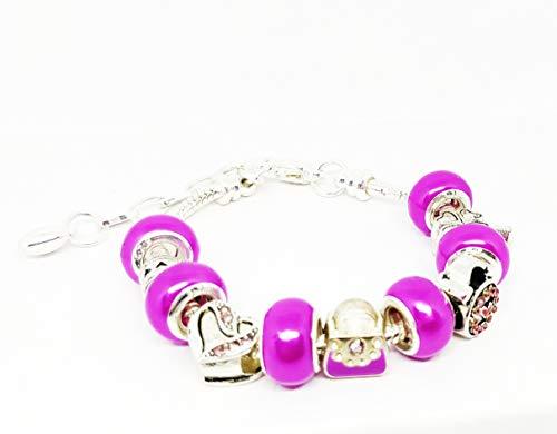 (Fuchsia Purse Clock Heart Beads Enamel Rhinestones European Style Bracelet Snake Chain Adjustable)
