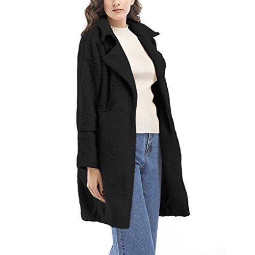 07c3e0e4bb28 ... Damen Knopf Langärmelig Eifarbig Kaschmirwolle Midi- Mantel Mantel Tweed -Mantel Jacke Schwarz 2CbUJ