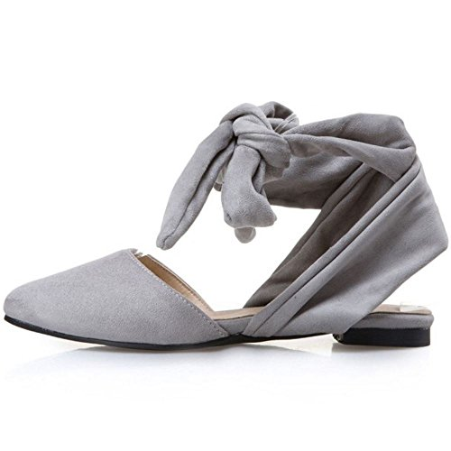 TAOFFEN Women Casual Summer Closed Toe Lace Up Open Back Flat Sandals Grey bXbPy