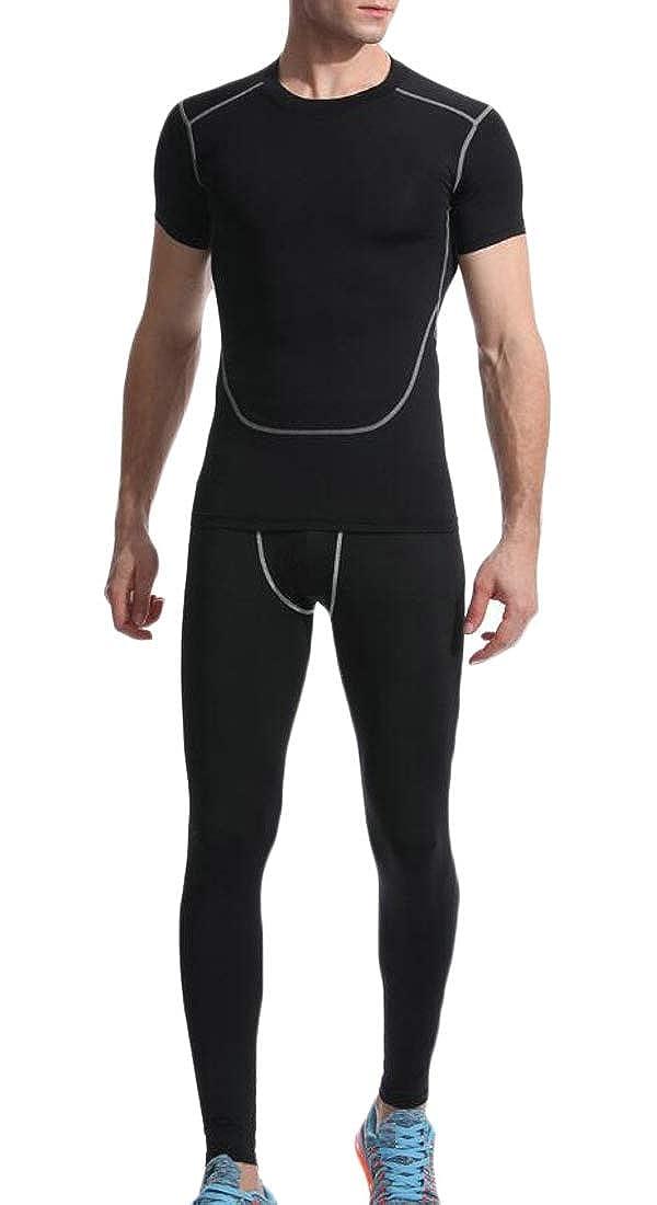 Hajotrawa Mens Active 2 Piece Striped Elastic Waist Crewneck Gym Yoga Tracksuit