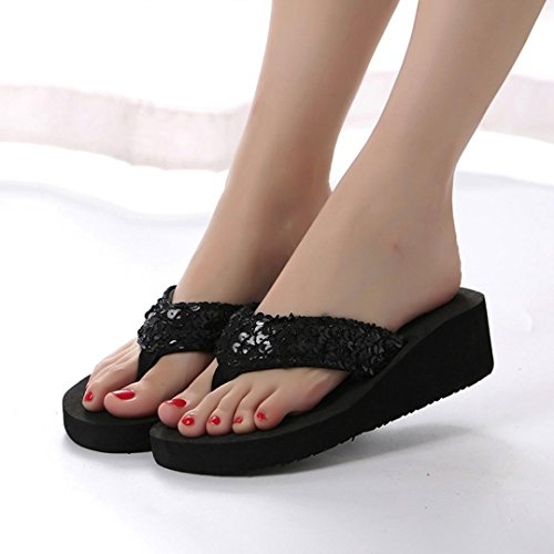 Inkach Flip Flops Sandals - Fashion Womens Sequins Summer Wedge Sandals Chunky Heeled Slippers Black PlPS0FX