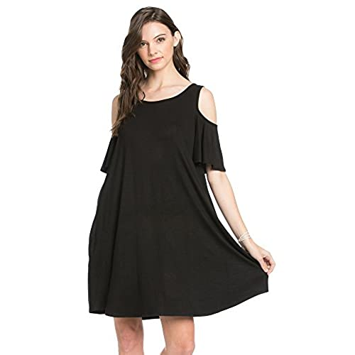 My Space Clothing Women's Cold Shoulder Jersey Swing Dress - Made in USA ( Large, Black)