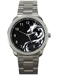 Oriental or Celtic Dragon (White on Black) on a Silver Sports Watch