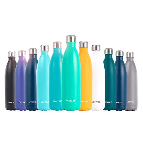 UMAY Lontek Double Wall Stainless Steel Water Bottle- Vacuum Insulated Water Bottle & Keep 20 Hours Hot & 24 Hours Cold, 26oz BPA Free 18/8 (New-Gray)
