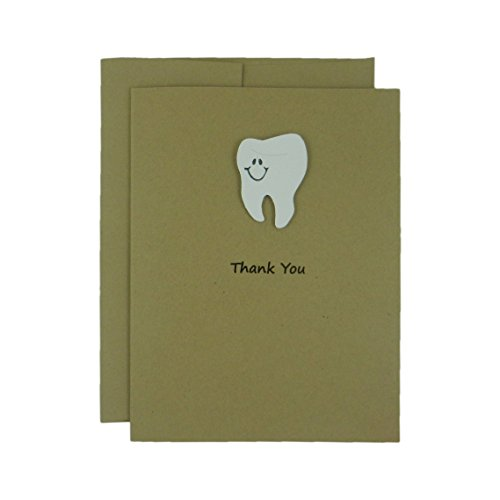 tooth-thank-you-card-a2-recycled-kraft-brown-card-stock-with-envelope-single-card-for-dentists