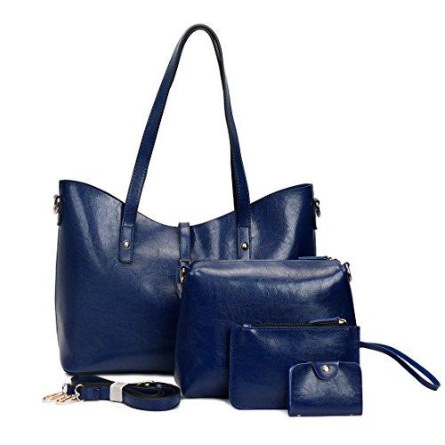 Luckywe Mujeres Bolso Grande Cremallera Bolsos Padres de niño retro paquete 4-Piece Set Totes Bolsa de Hombro Azul